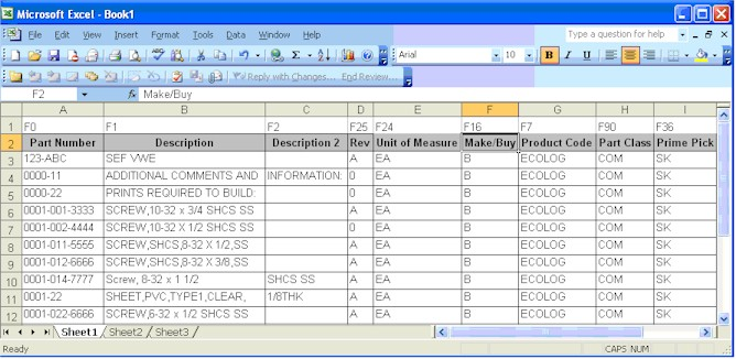 figure 1 excel rows of sample data
